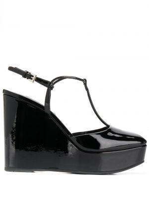 Кожаные туфли черные на платформе Prada