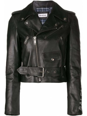 Хлопковая черная кожаная куртка с принтом Balenciaga