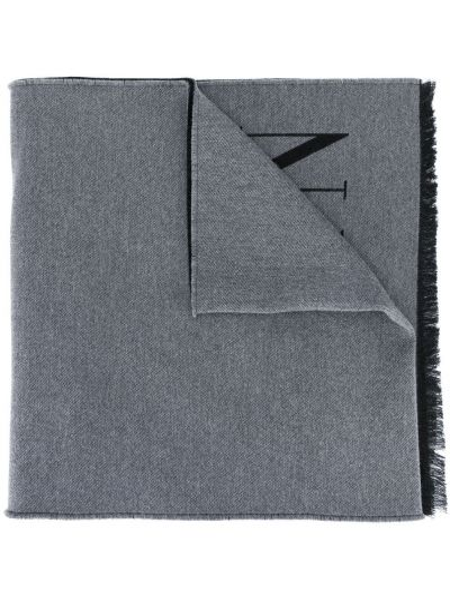 Вязаный шерстяной черный шарф вязаный с опушкой Valentino
