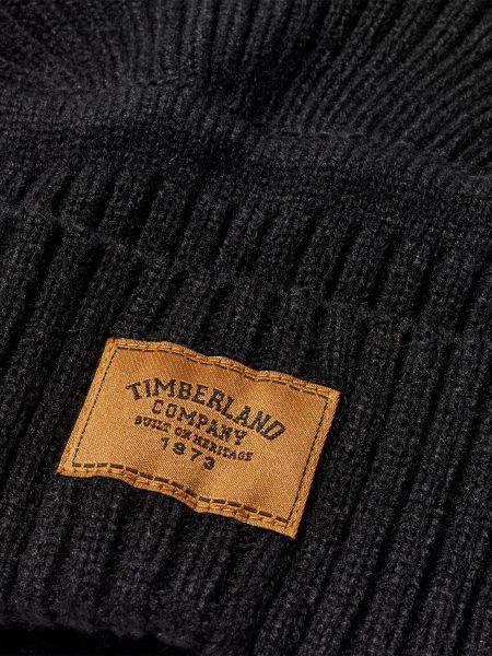 Черная вязаная шапка с отворотом Timberland