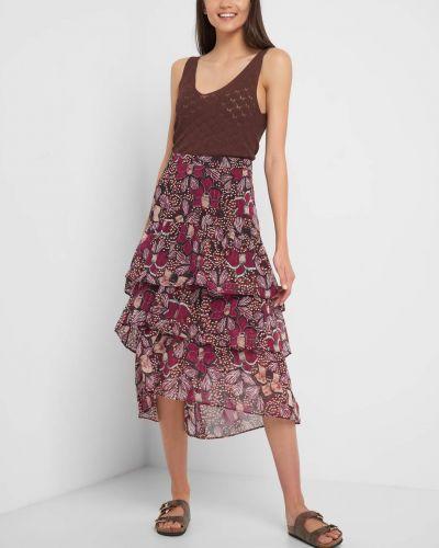 Fioletowa spódnica midi z falbanami z wiskozy Orsay