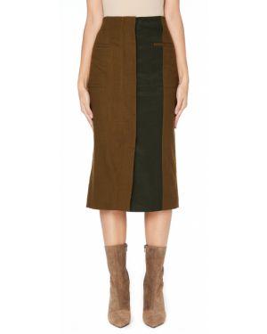 Шерстяная юбка миди - зеленая Haider Ackermann