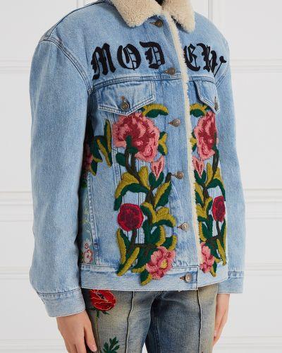 Утепленная куртка джинсовая на пуговицах Gucci