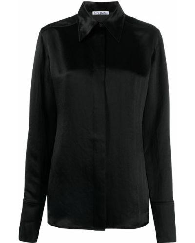 Приталенная черная классическая рубашка с длинными рукавами Acne Studios