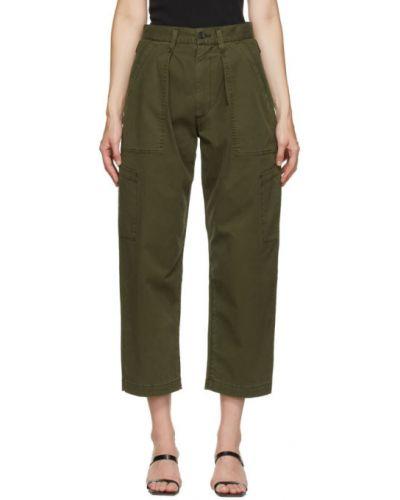 Spodni zielony szerokie spodnie z paskiem bezpłatne cięcie Agolde