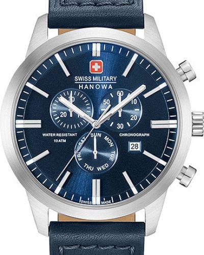 Часы водонепроницаемые с кожаным ремешком швейцарские Swiss Military Hanowa