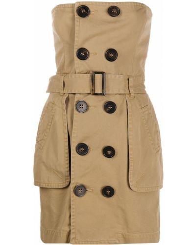Хлопковое платье мини с поясом на пуговицах Dsquared2