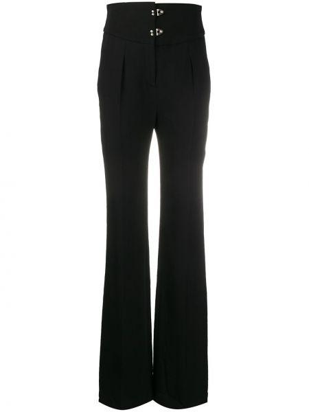 Черные брюки свободного кроя из вискозы на крючках Olivier Theyskens