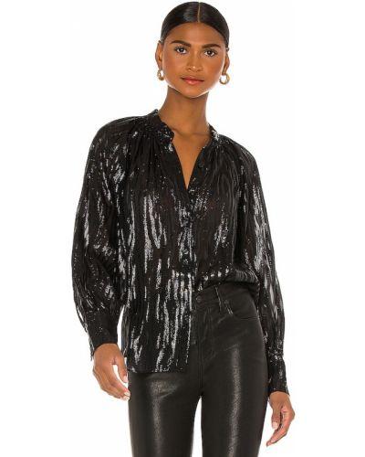 Czarna bluzka z długimi rękawami z jedwabiu Rebecca Taylor
