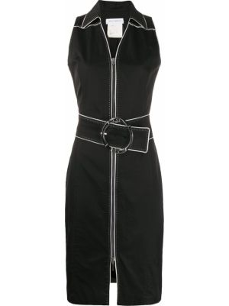 Черное платье с воротником без рукавов на молнии Paco Rabanne Pre-owned