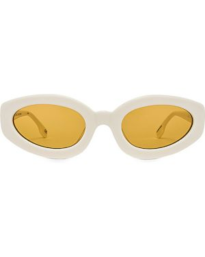 Białe okulary vintage z bursztynem Le Specs Luxe