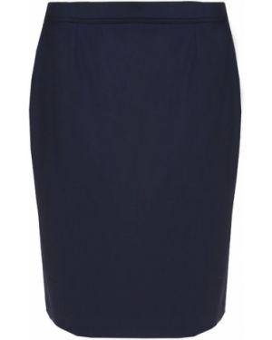 Шерстяная синяя юбка миди в рубчик на молнии Hugo Boss