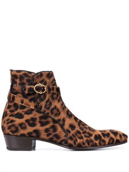Кожаные коричневые кожаные ботинки с пряжкой на каблуке Lidfort