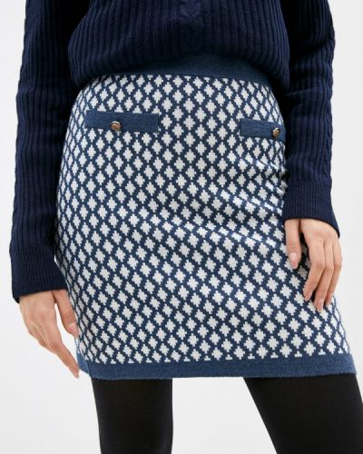 Синяя прямая юбка карандаш Rodier