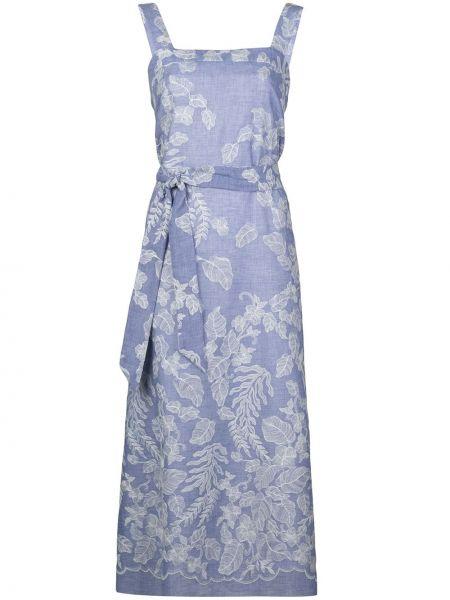 Синее платье миди с поясом без рукавов Natori