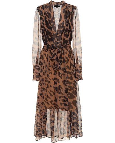 Платье миди леопардовое в рубчик Oscar De La Renta