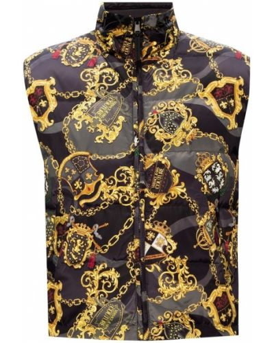 Ciepła czarna kamizelka na rzepy Versace Jeans Couture