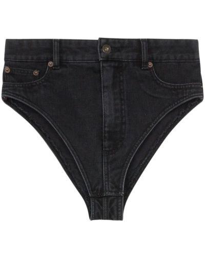 Хлопковые черные с завышенной талией джинсовые шорты Y/project