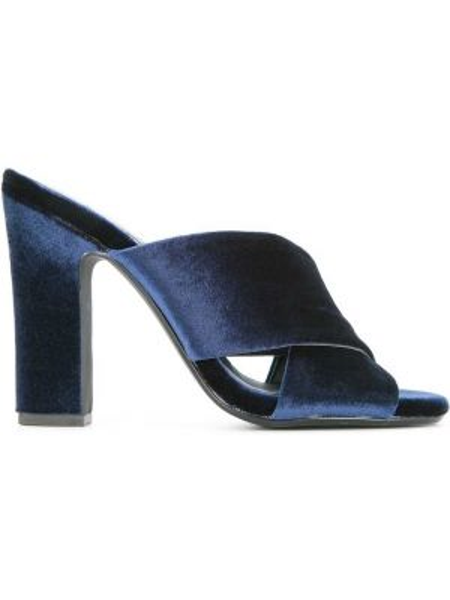 Открытые синие кожаные мюли на каблуке Senso