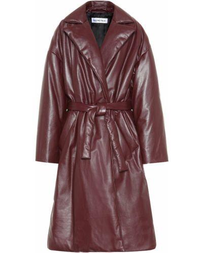 Кожаное пальто бордовый красное Balenciaga