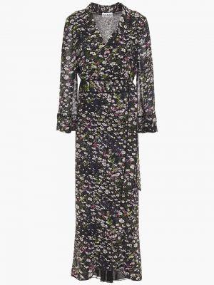 Платье с запахом - черное Ganni