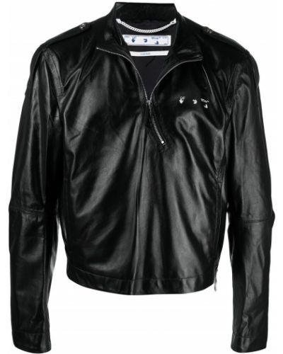 Bawełna czarny skórzany długa kurtka Off-white