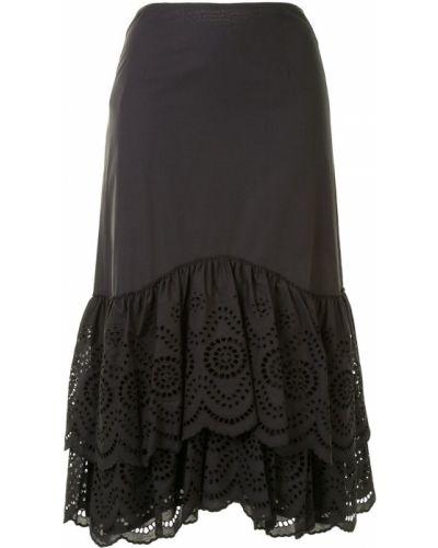 Czarna spódnica z haftem bawełniana Cedric Charlier