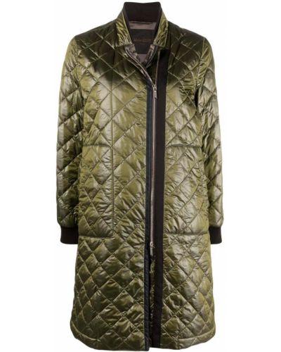 Зеленое стеганое длинное пальто с воротником Moorer