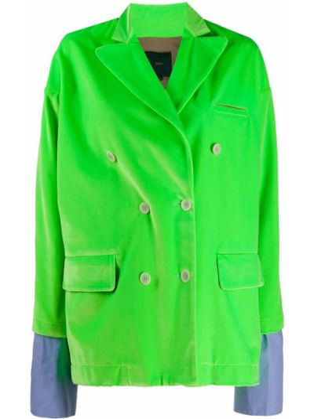Зеленый удлиненный пиджак двубортный с карманами Jejia