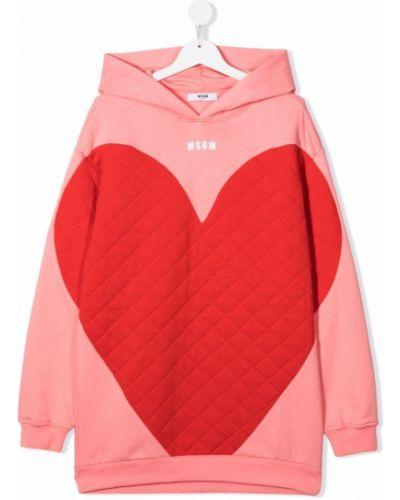 Różowa bluza z kapturem Msgm Kids