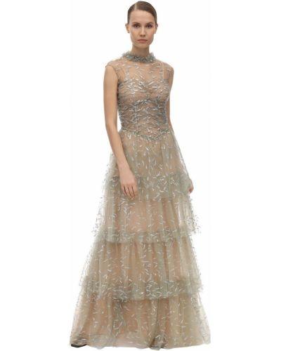 Sukienka długa z falbanami tiulowa bez rękawów Sandra Mansour