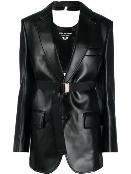 Черный кожаный удлиненный пиджак с карманами Junya Watanabe