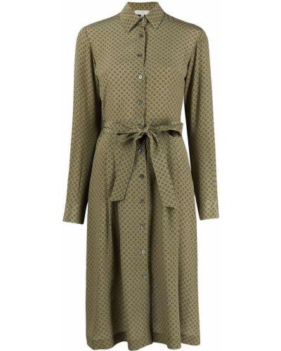 Шелковое зеленое платье миди в горошек Antonelli