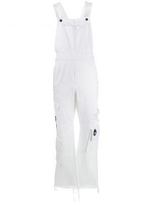 Хлопковый белый джинсовый комбинезон с карманами Duoltd