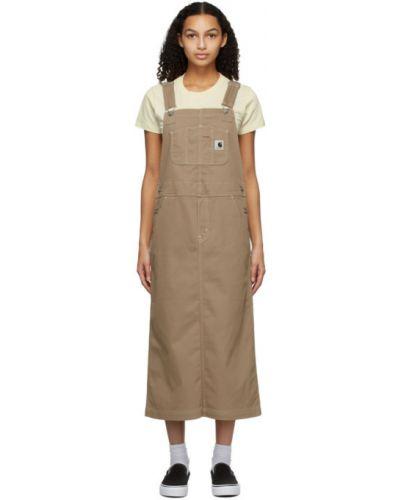 Bawełna bawełna beżowy sukienka na paskach Carhartt Work In Progress