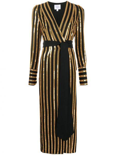Złota czarna sukienka midi z długimi rękawami Galvan