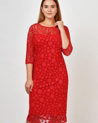 Коктейльное платье красный осеннее Kontaly