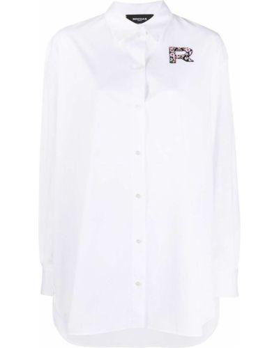 Классическая рубашка с воротником на пуговицах с нашивками оверсайз Rochas