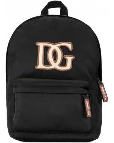 Черный рюкзак с карманами на молнии Dolce & Gabbana Kids