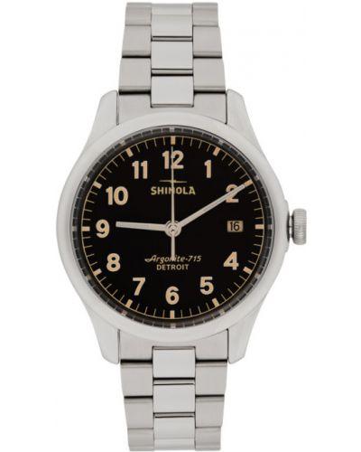 Czarny zegarek kwarcowy srebrny kwarc Shinola