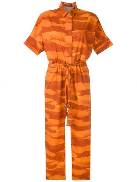 Хлопковый с рукавами оранжевый комбинезон Andrea Marques