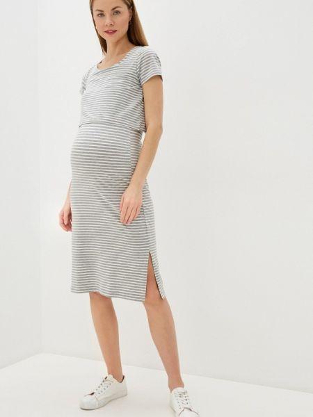 Платье для беременных серое прямое Mama.licious