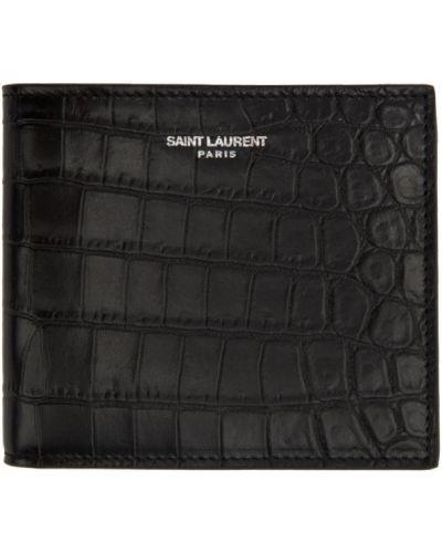 Серебряный кожаный кошелек с тиснением Saint Laurent