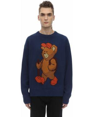 Prążkowany niebieski sweter wełniany P.a.m. Perks And Mini