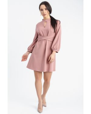 Платье с поясом розовое на пуговицах Lacywear