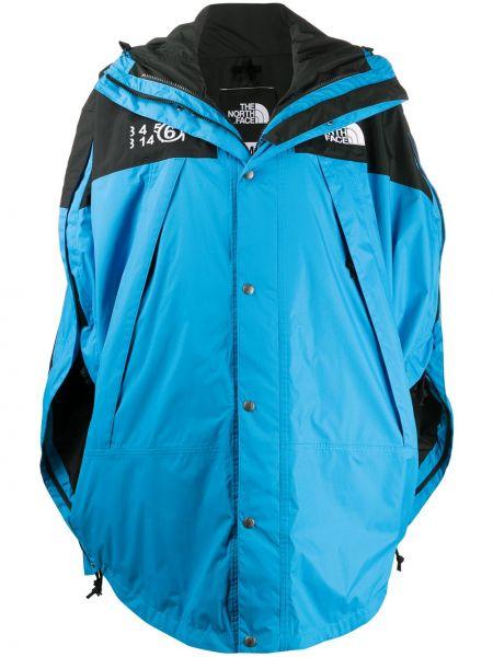 Klasyczny niebieski płaszcz z kapturem z kapturem z haftem Mm6 Maison Margiela