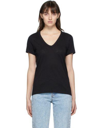 Bawełna czarny koszula z krótkim rękawem z kołnierzem z dekoltem w szpic Rag & Bone