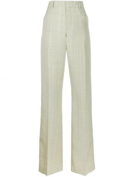 Spodni jedwab zielony spodnie z paskiem Jacquemus