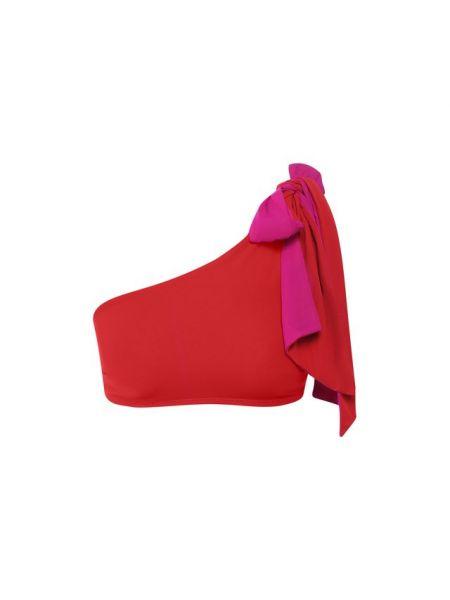 Текстильный красный купальник раздельный двусторонний с бантом Araks