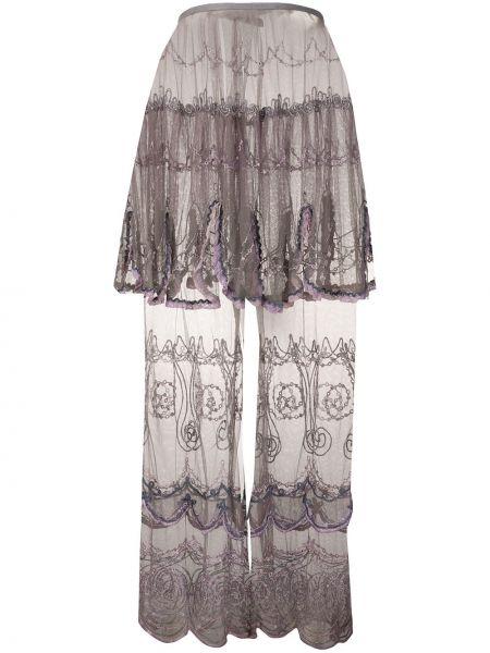 Хлопковая серая юбка макси прозрачная каскадная Jean Paul Gaultier Pre-owned